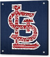 St. Louis Cardinals Baseball Vintage Logo License Plate Art Acrylic Print by Design Turnpike