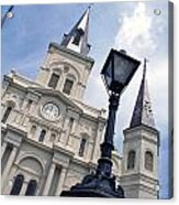 St Louis Cathederal And Lamp Acrylic Print