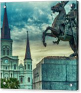 St. Louis Cathedral And Andrew Jackson- Artistic Acrylic Print