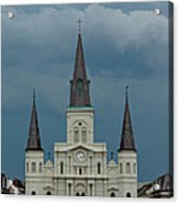 St Louis Cathedral Under Storm Clouds Acrylic Print