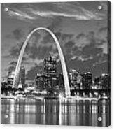 St. Louis Skyline At Dusk Gateway Arch Black And White Bw Panorama Missouri Acrylic Print