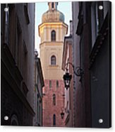 St. Martin's Church Bell Tower In Warsaw Acrylic Print