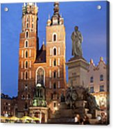 St Mary Basilica And Adam Mickiewicz Monument At Night In Krakow Acrylic Print