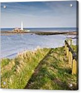 St Marys Lighthouse From Cliff Top Acrylic Print