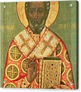 St. Nicholas Acrylic Print by Russian School