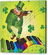 St Patricks Day Leprechaun Dancing On Piano Keyboard Acrylic Print