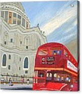St. Paul Cathedral And London Bus Acrylic Print