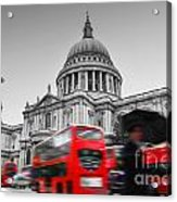 St Pauls Cathedral In London Uk Red Buses In Motion Acrylic Print