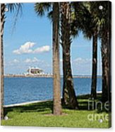 St Pete Pier Through Palm Trees Acrylic Print