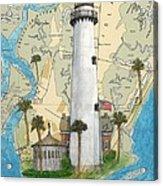 St Simons Lighthouse Ga Nautical Chart Map Art Cathy Peek Acrylic Print