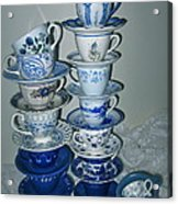 Stack Of Blue Teacups  Acrylic Print