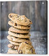 Stack Of Chocolate Chip Cookies With One Leaning Kitchen Art Acrylic Print