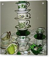Stack Of Green Teacups  Acrylic Print
