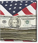 Stack Of Money On American Flag  Acrylic Print