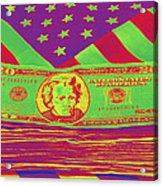 Stack Of Money On American Flag Pop Art Acrylic Print