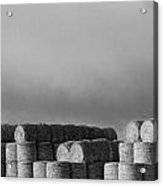 Stacked Round Hay Bales Bw Panorama Acrylic Print