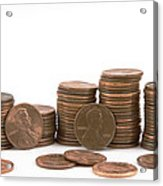 Stacks Of American Pennies White Background Acrylic Print