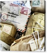Stacks Of Old Mail Tied Together Acrylic Print