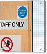 Staff Only Signs At Laboratory Acrylic Print