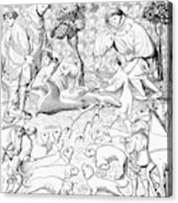 Stag Hunters, 15th Century Acrylic Print