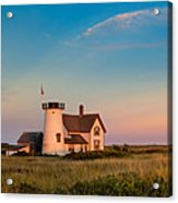 Stage Harbor Lighthouse Square Acrylic Print by Bill Wakeley