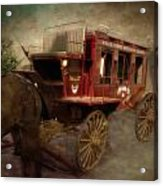 Stagecoach West Sepia Textured Acrylic Print