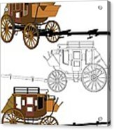 Stagecoach Without Horses - Color Sketch Drawing Acrylic Print