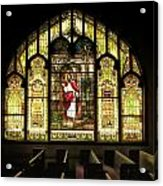 Stain Glass Behold I Stand At The Door And Knock Acrylic Print
