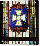 Stained Glass 3 Panel Vertical Composite 01 Acrylic Print by Thomas Woolworth