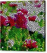 Stained Glass Chrysanthemum Flowers Acrylic Print