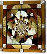 Stained Glass Template Sepia Flora Kalidescope Acrylic Print