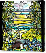Stained Glass Tiffany Holy City Memorial Window Acrylic Print
