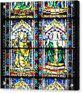Stained Glass Window Of Santa Maria Del Fiore Church Florence Italy Acrylic Print
