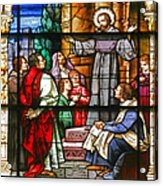 Stained Glass Window Saint Augustine Preaching Acrylic Print by Christine Till