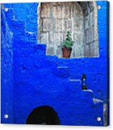 Staircase In Blue Courtyard Acrylic Print by RicardMN Photography