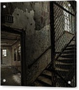 Stairs And Corridor Inside An Abandoned Asylum Acrylic Print by Gary Heller