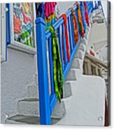 Stairs With Blue Railing In Mykonos Greece Acrylic Print