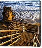 Steps To Blue Ocean And Rocky Beach Acrylic Print