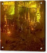 Stalactite Cave In Yellow Acrylic Print