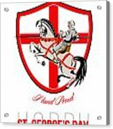 Stand Tall Happy St George Day Retro Poster Acrylic Print