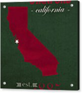 Stanford University Cardinal Stanford California College Town State Map Poster Series No 100 Acrylic Print