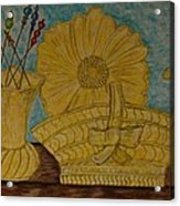 Stangl Pottery Satin Yellow Pattern And Vintage Hat Pins Acrylic Print