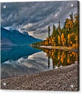 Stanton Mountain With Mount Vaught And Mcpartland Reflected In Lake Mcdonald Acrylic Print