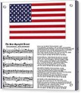 Star Splangled Banner Music  Lyrics And Flag Acrylic Print