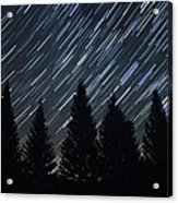 Star Trails And Pine Trees Acrylic Print