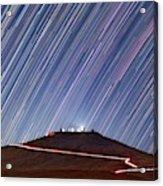 Star Trails Over Cerro Paranal Telescopes Acrylic Print