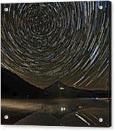 Star Trails Over Mount Hood At Trillium Lake Acrylic Print
