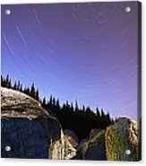 Star Trails Over Rocks In Saguenay-st Acrylic Print