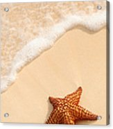 Starfish And Ocean Wave Acrylic Print