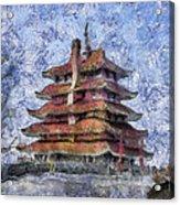 Starry Starry Pagoda Night Acrylic Print